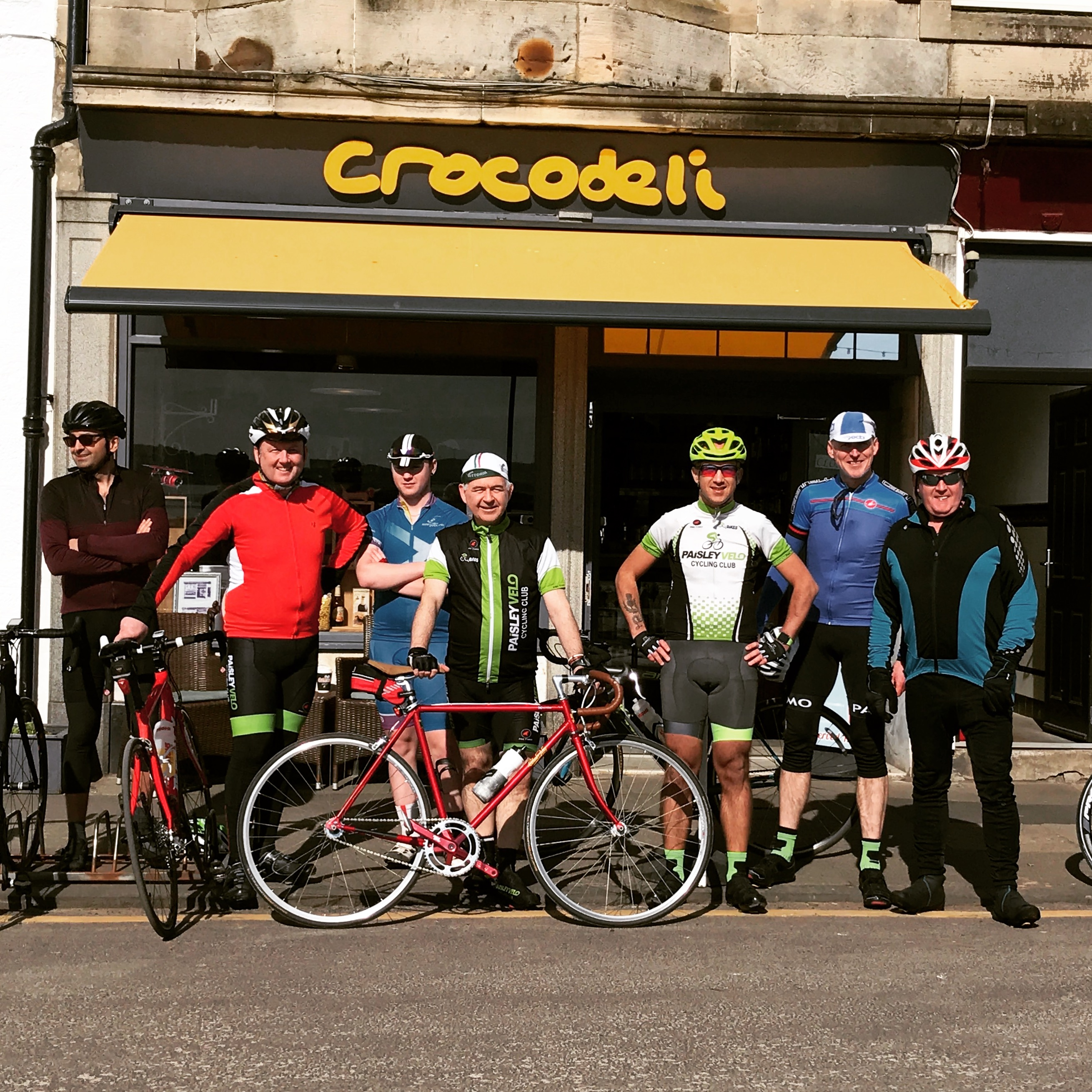 Some of the riders at the cafe stop at Millport for our Fixation event